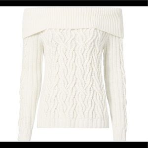 Intermix Off Shoulder Cable Knit Sweater